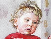 Watercolor portrait. Family.