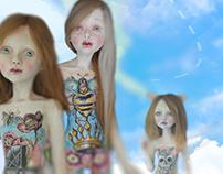Ceramic Dolls with Illustration