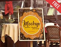 Restaurant Advertising Street Board – 4 Free PSD Mockup