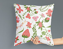 Flower illustration pattern for pillow design