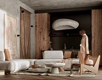Minimalistic Interior Design with Wabi-Sabi Elements