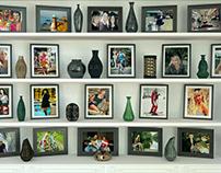 Photos of my daughter Alena. Shelf with photos. 3D max.