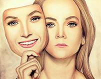 7 billion people .. 14 billion faces ... pastel drawing