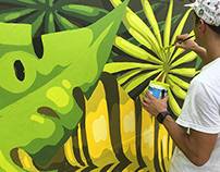 Palms Cafe. Jungle Mural