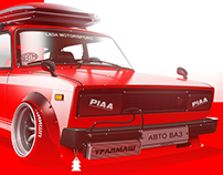 Lada 2105 Red stance