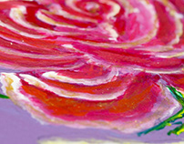 Painted roses on wooden board