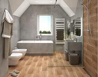 Bathroom #microcret #wood