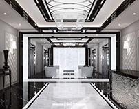 Modern hall of elite apartment building