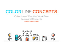 Set of Flat Line Color Banners Design Concept