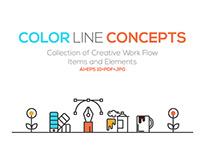 Set of Flat Line Color Banners Design Concept