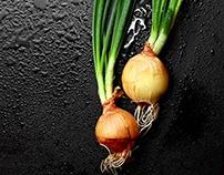 Green fresh onion. HOme growth