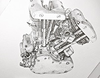 HD Shovelhead Engine dotwork