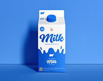 Free Packaging Milk Carton Mockup