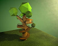 Treehouse Low Poly