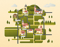 Illustrated map »Palatina«, infographic, personal work