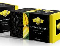 African Mango Herbal Tea. Bitkisel çay kutu tasarımı