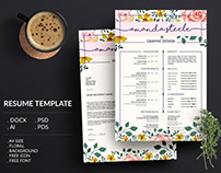 Floral Resume Template / CV template / Resume template