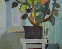 ,,Flowers on a white stool'' Oil on canvas 81 x 65