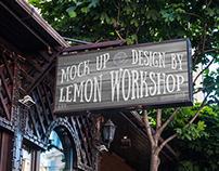 Logo, Brand Name Mockup Retro Sign
