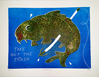 Bowfishing Relief Print