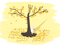 dog,autumn,Ginkgo biloba