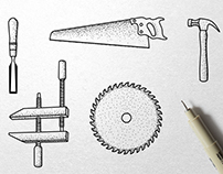 Carpentry Tools Ink Illustrations