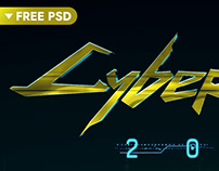Download Cyberpunk Text Effect PSD Template