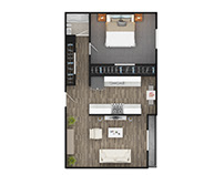 1 BHK Home Floor Plan Rendering San Mateo California