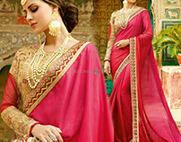 Heavy Embroidered Work Party Wear Sarees To Wear BY DNU