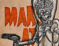 Ilustração dos filmes Mars Attacks e Beetle Juice
