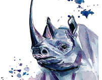 Black Rhino watercolor painting