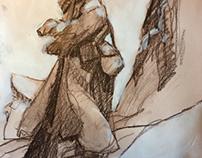 Vecchio alpino di vedetta in trentino