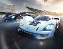 Porsche 908-04 Vision GT and fivesphere on the track