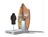 Présentoir pour la boutique Arc'teryx - Modélisation 3D