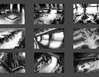 Thumbnails sketches of planetary station conceptart