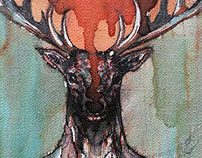 Dear deer-ink painting