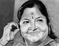 K S Chithra - Portrait ( Charcoal & Graphite Pencils )