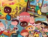 Poster y pegatinas: Recetas para un mundo sin hambre