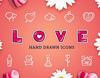 LOVE Hand Drawn Icons