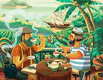 Black tea illustration design