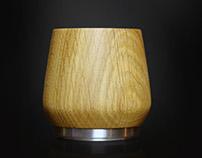 A masterfully handmade, oak honey Whiskey tumbler.