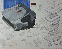 A2 Size Explanatory Drawing of Sandwich Toaster
