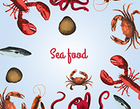 Sea foods illustration