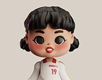 China Women national volleyball team cartoon image