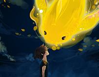 Kid and Goldfish illustration