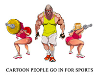 Cartoon people go in for sports