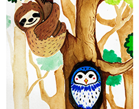 Watercolor 4 - Seloh the Sloth and Oui the Owl