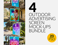 4 Outdoor Ad Screen Mock-Ups Bundle