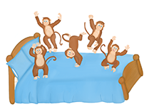 Five Cheeky Monkeys Jumping on the Bed