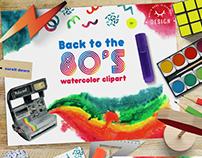 Retro 1980's watercolor set
